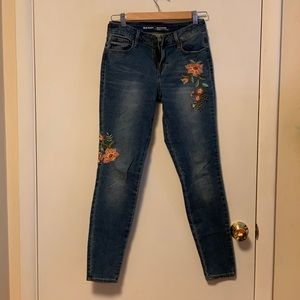 Old Navy mid rise rockstar with floral detail